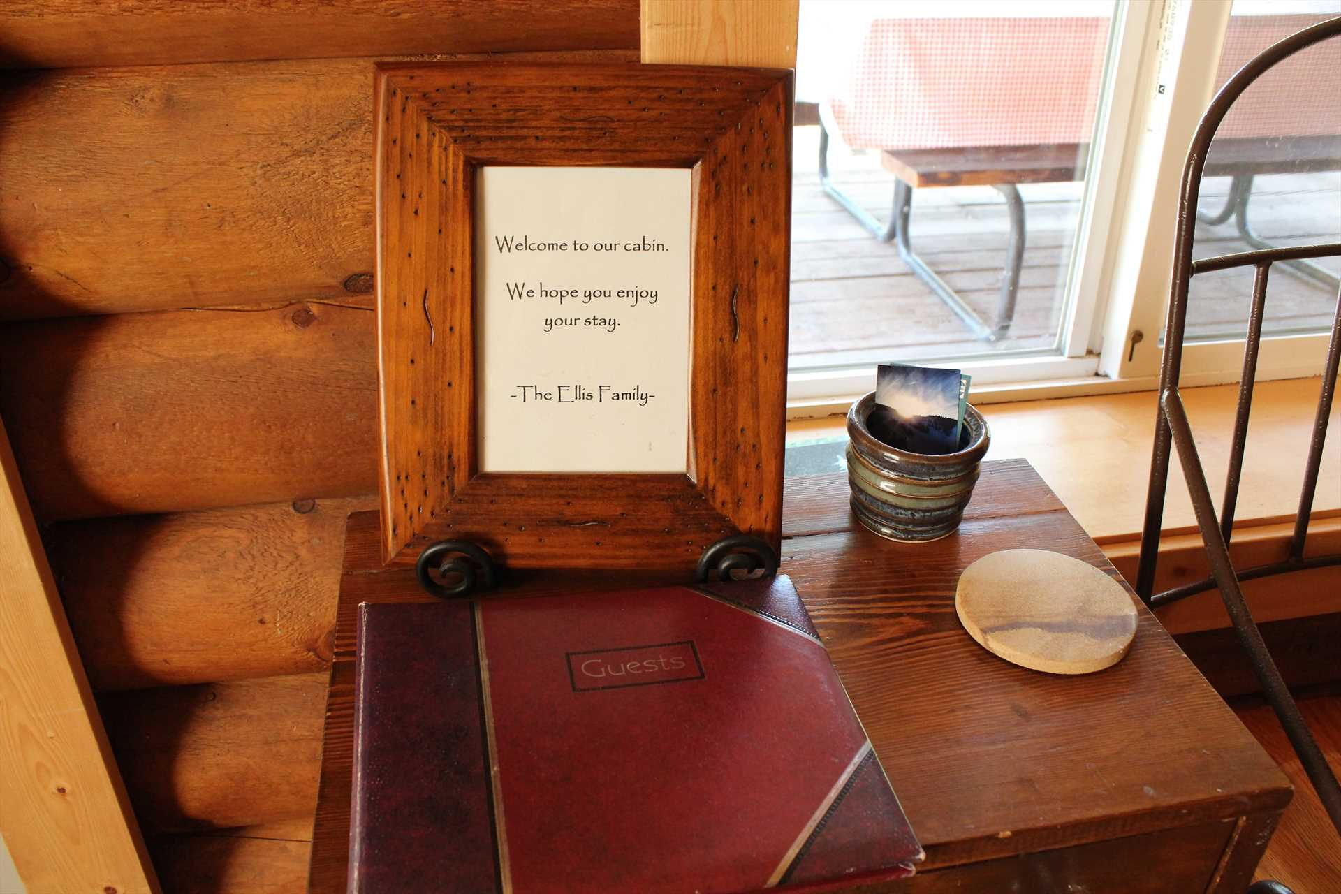 Welcome and Guest Book