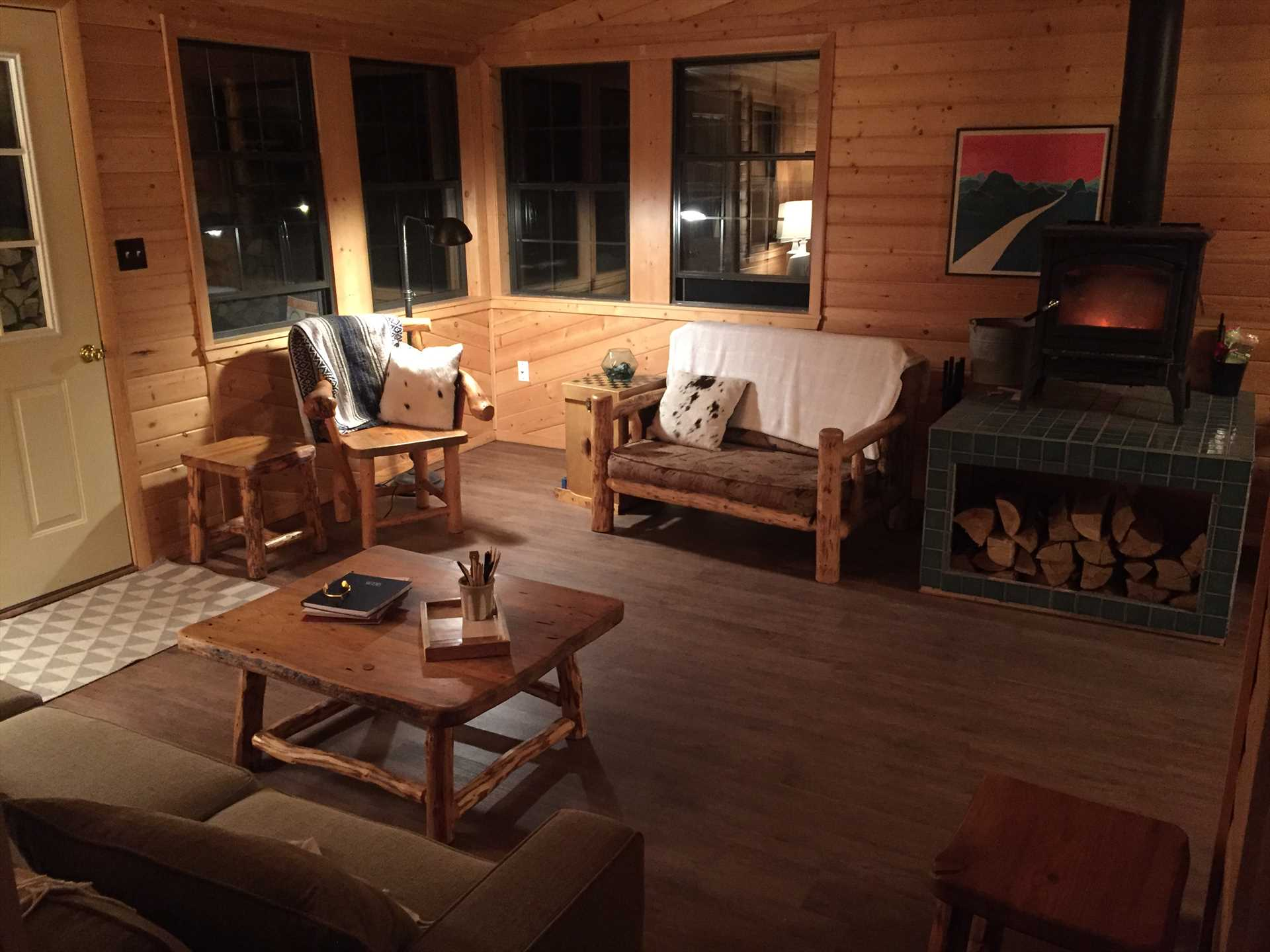 Living Room Area with Wood Stove