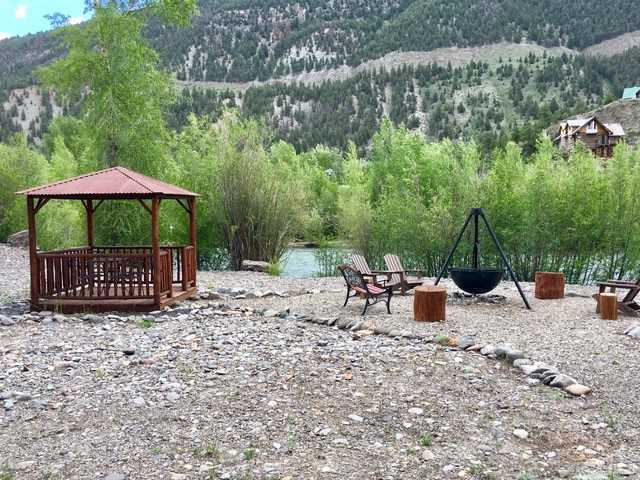 Gazebo and Fire Pit Behind the Cabin