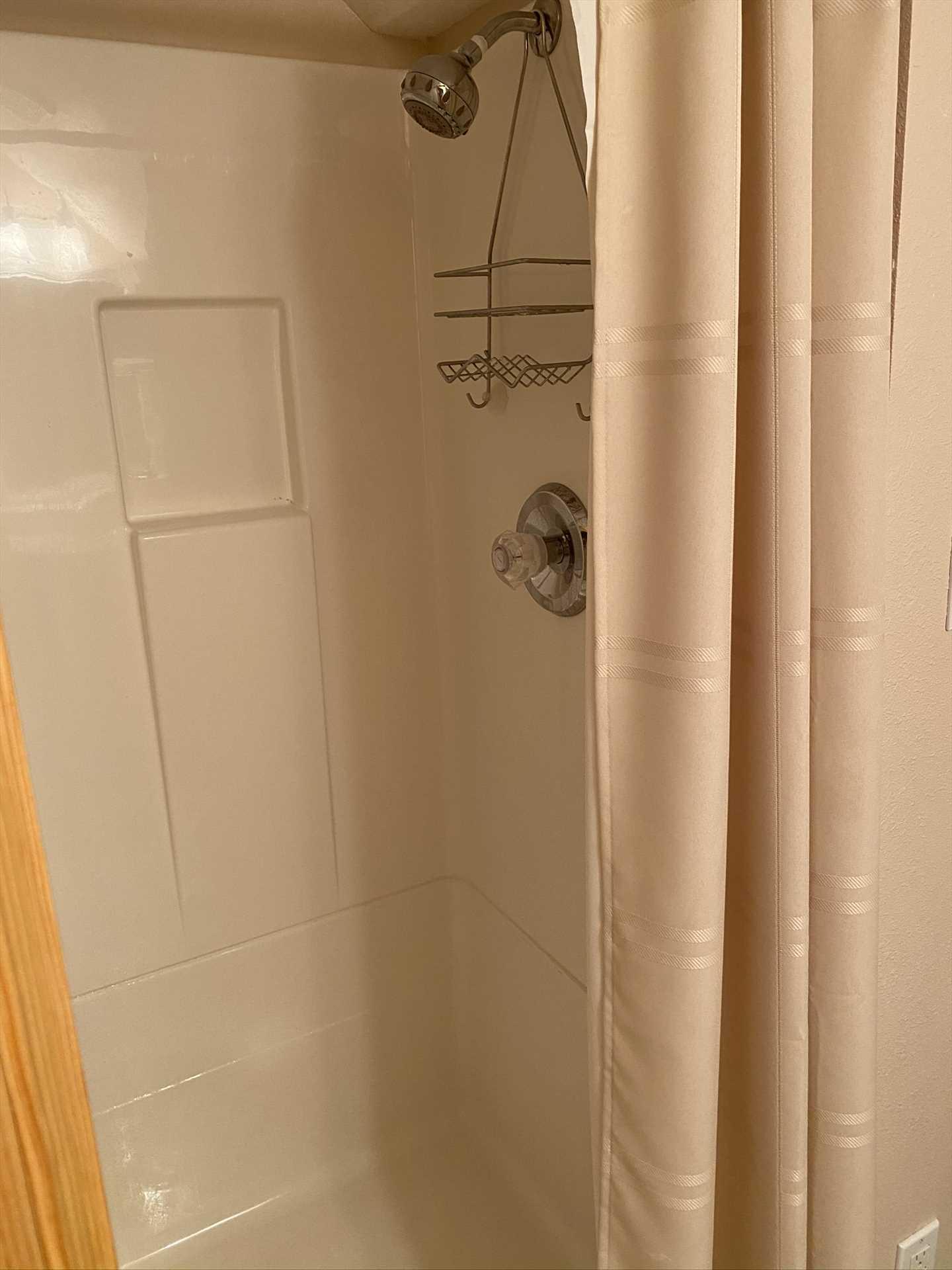 Shower in Upstairs Bathroom in 2nd Bedroom