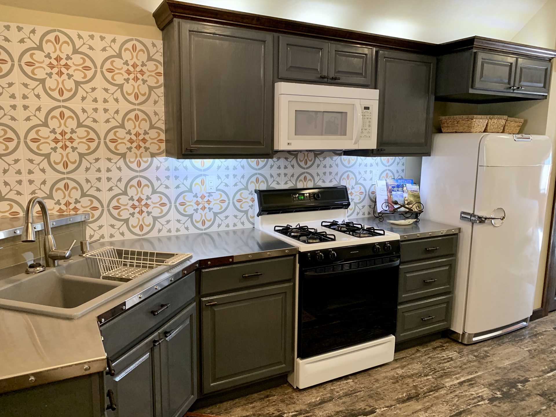 Kitchen area with antique refrigerator