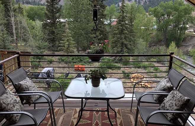 Patio looking out over Lake Fork of the Gunnison